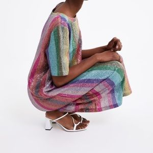 The Very Popular Zara Rainbow Striped Sequin Dress